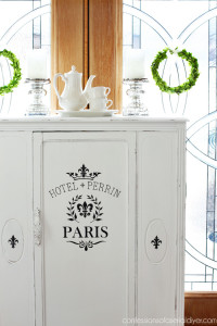 Antique Cabinet Makeover {& an Alternative to Replacing the Glass Door Panel}