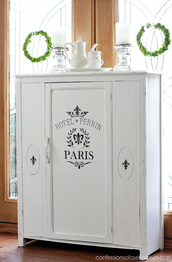 Antique Cabinet makeover in Pure White DIY Chalk Paint from Confessions of a Serial Do-it-Yourselfer. This is a great inexpensive alternative to repalcing a glass door panel!