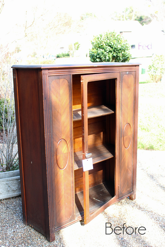 Antique-Paris-Cabinet-Before- - Antique Cabinet Makeover {& An Alternative To Replacing The Glass