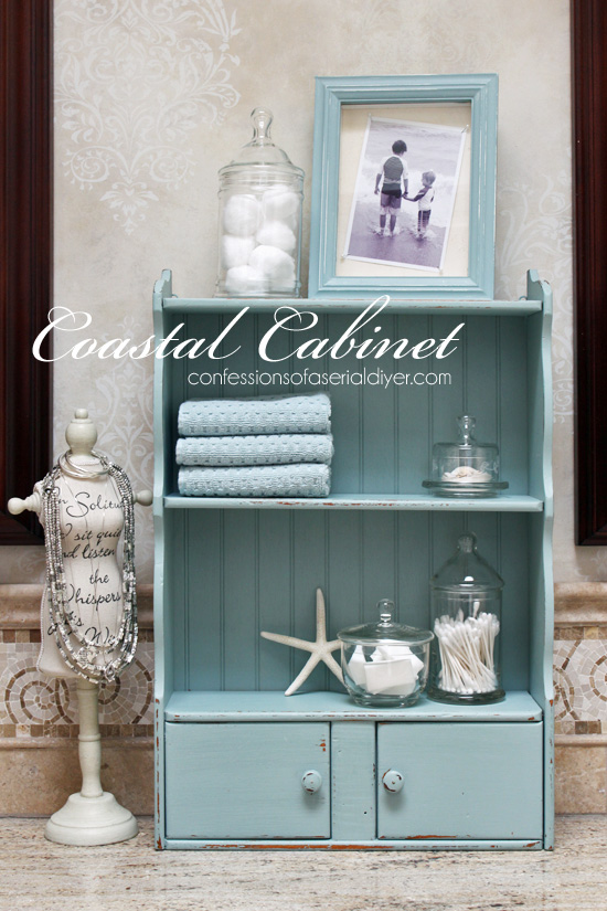 Turn a frumpy dated piece into a coastal cutie! This little mini shelf is totally transformed! Confessions of a Serial Do-it-Yourselfer