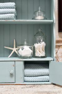 Turn a frumpy dated cabinet into a coastal cutie!