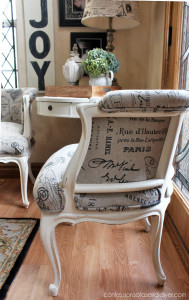 Estate sale French Provincial chair made over from Confessions of a Serial Do-it-Yourselfer