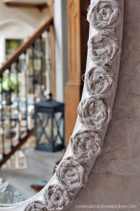 Rag rosettes made from drop cloth. Get the video tutorial here!