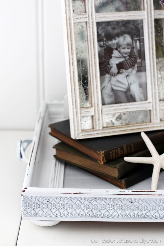 Turn an ordinary frame into a gorgeous functional tray with a little bead board from Confessions of a Serial Do-it-Yourselfer