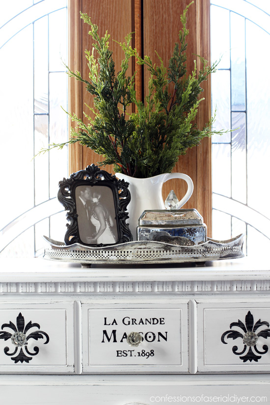 Black and White Fleur de Lis Dresser from Confessions of a Serial Do-it-Yourselfer