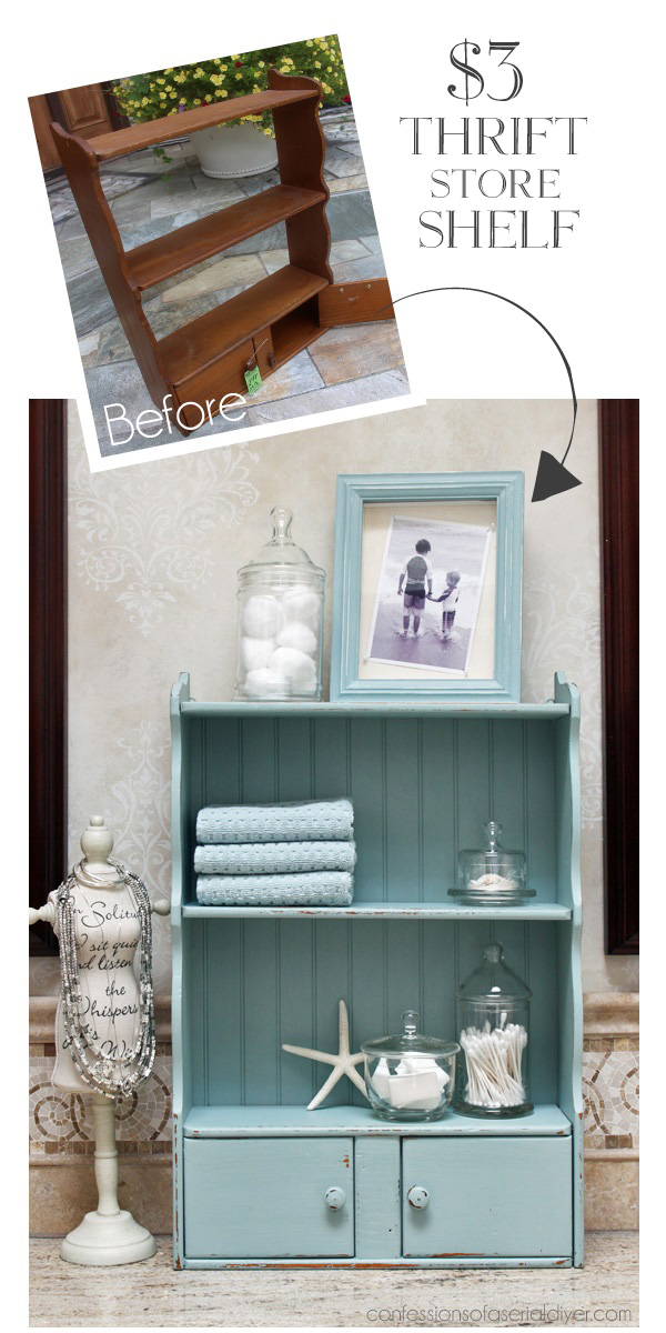 Turn a frumpy dated cabinet into a coastal cutie from Confessions of a Serial Do-it-Yourselfer