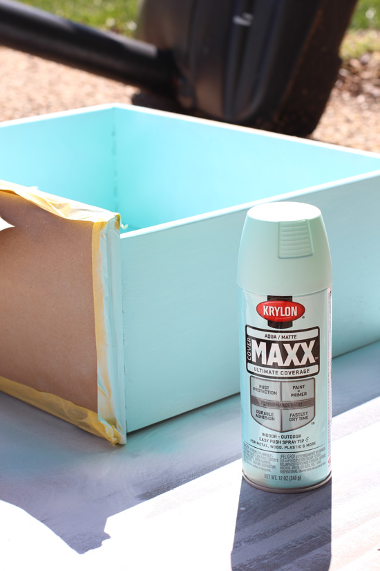Krylon in Aqua is perfect for the drawers in this sweet girl's room makeover.