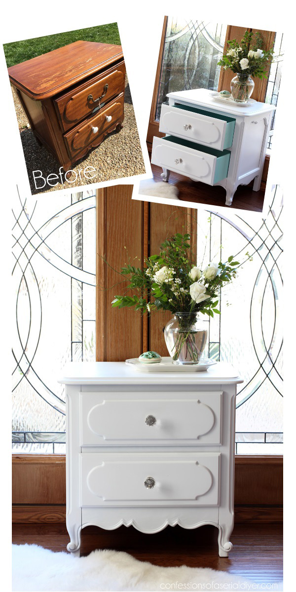 French Provincial Night Table made over with Spray Paint from Confessions of a Serial Do-it-Yourselfer
