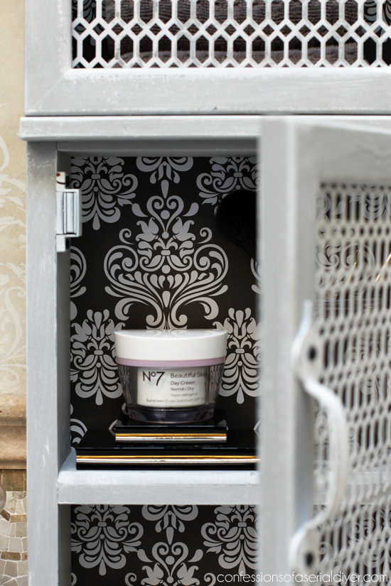 Add pretty paper to the inside of a cabinet for an easy update!