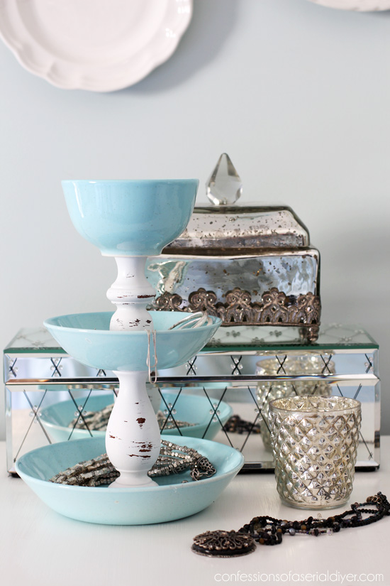 Make this storage display for jewelry from old dishes and a couple of candlesticks from Confessions of a Serial Do-it-Yourselfer