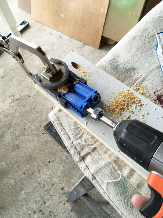 A Kreg Jig Jr is a great tool for making pocket holes to join right angles together!