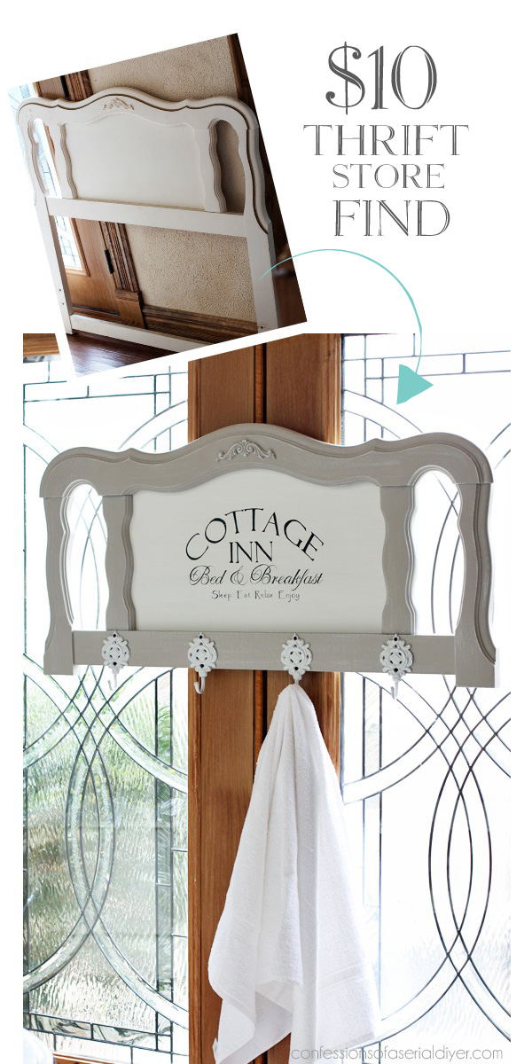 French Provincial Headboard made into the Perfect Towel Rack to Welcome Guests from Confessions of a Serial Do-it-Yourselfer