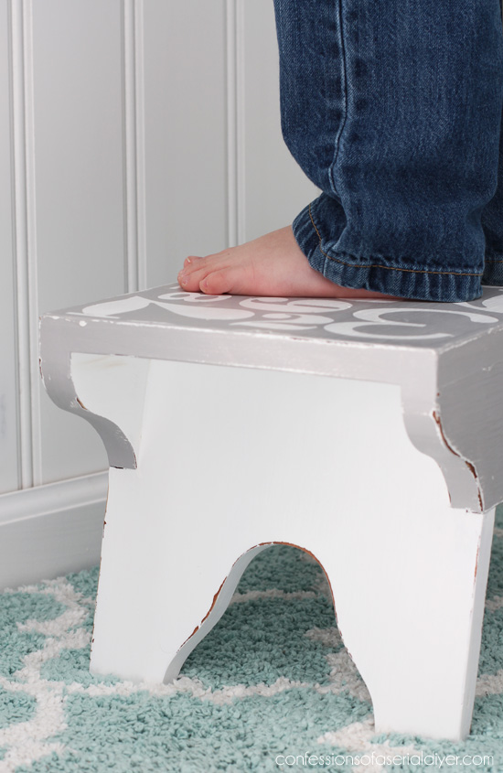 Give a stool a new look by adding numbers to the top. Confessions of a Serial Do-it-Yourselfer