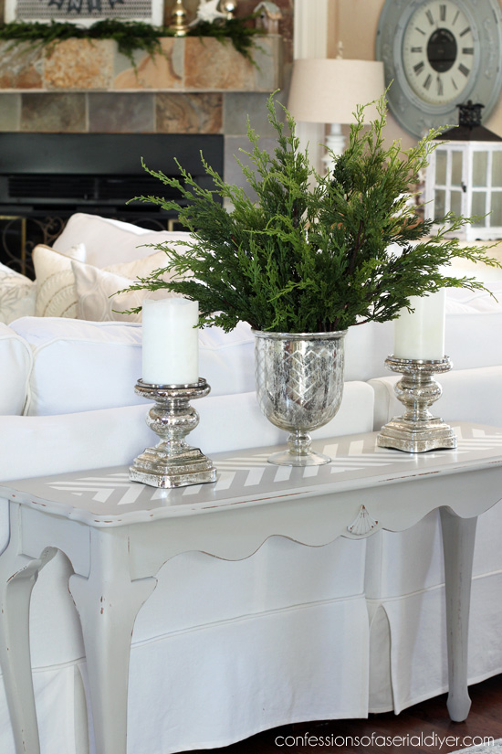 Give a plain table a cool update with pattern! Confessions of a Serial Do-it-Yourselfer