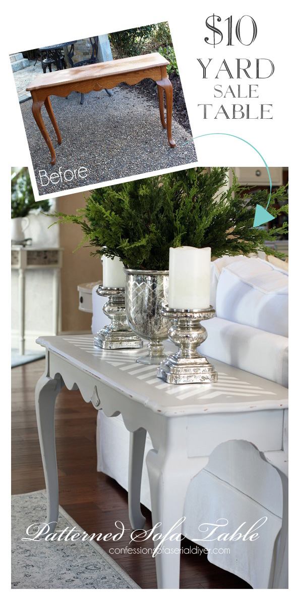 Create a one-of-a-kind furmniture piece with a fun pattern! This was a dated $10 Sofa Table I scored at a Yard Sale! Confessions of a Serial Do-it-Yourselfer