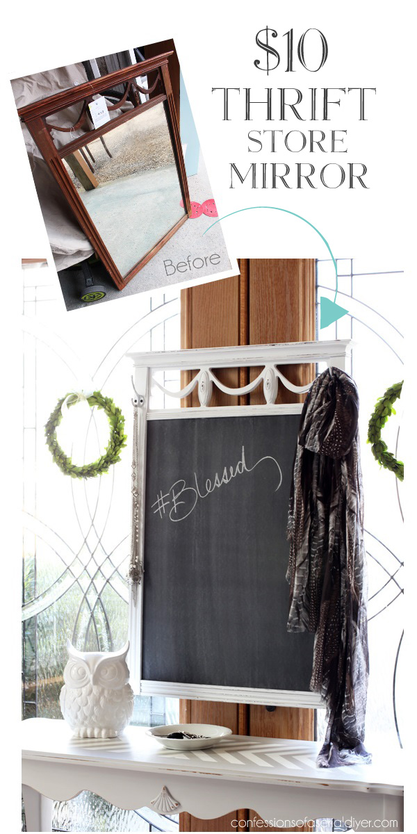 Turn a broken or outdated mirror into a chalkboard! Adding hooks to this one adds even for more function. Confessions of a Serial Do-it-Yourselfer