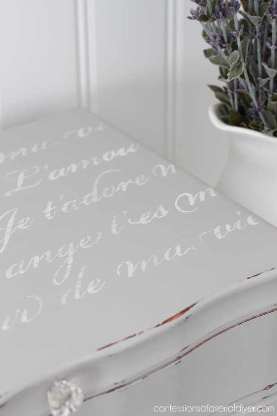 This French love letter stencil is perfect for adding a romantic feel to this box.