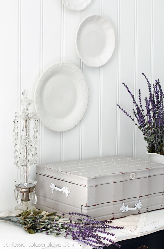 Upcycle an old flatware box into a romantic jewelry box. The size is perfect! Confessions of a Serial Do-it-Yourselfer