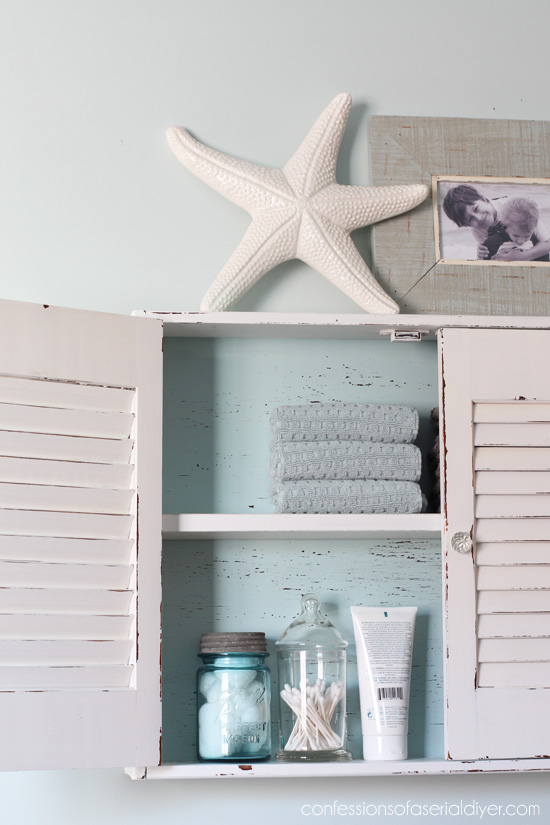 Thrift Store Shutter Cabinet gets a makeover from Confessions of a Serial Do-it-Yourselfer