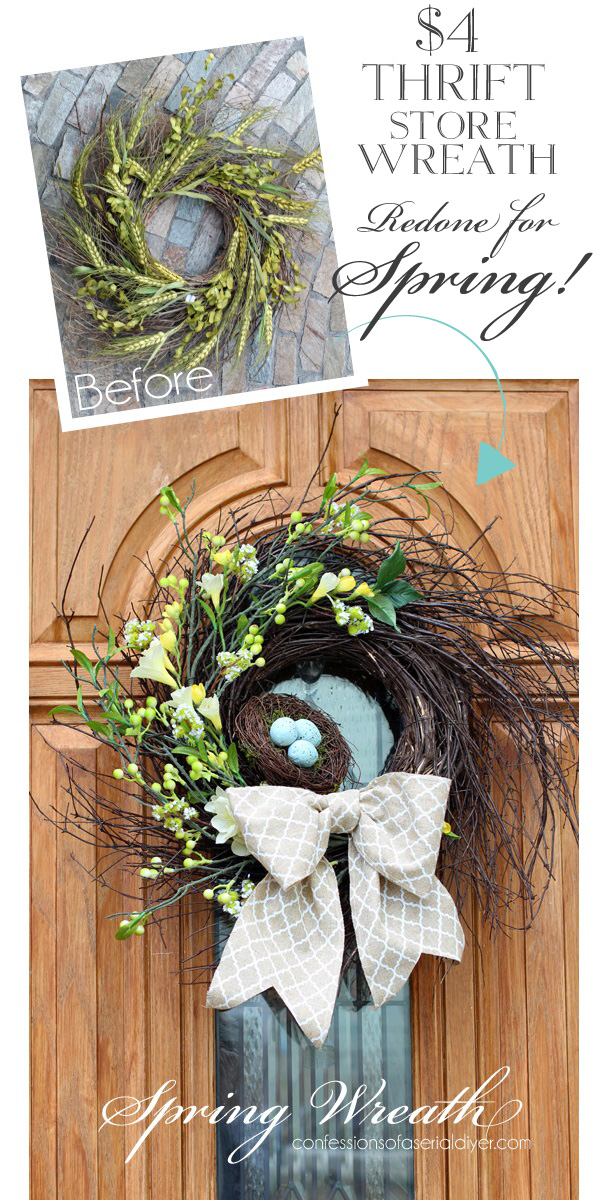 Why buy new?? Update a thrift store wreath instead! Spring Wreath from Confessions of a Serial Do-it-Yourselfer