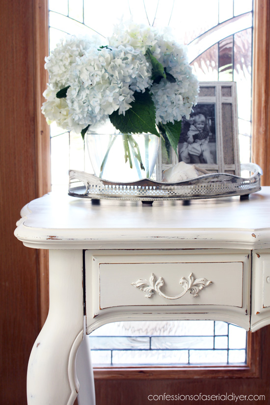 French Provincial Desk Made Over With Cottage White Paint By Behr (made  Into DIY Chalk