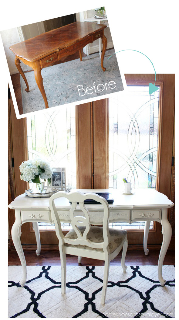 French Provincial Desk Made over with Cottage White paint by Behr  made  into DIY chalk. 25  Thrifty Furniture Makeovers   Confessions of a Serial Do it