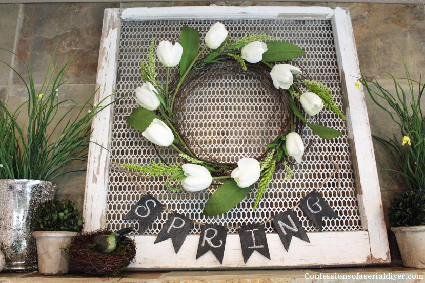 Super simple-to-make tulip wreath from Confessions of a Serial Do-it-Yourselfer