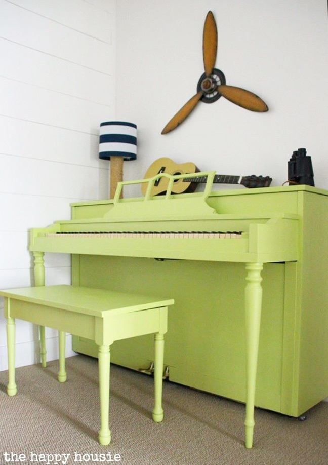 painted piano makeover from The Happy Housie