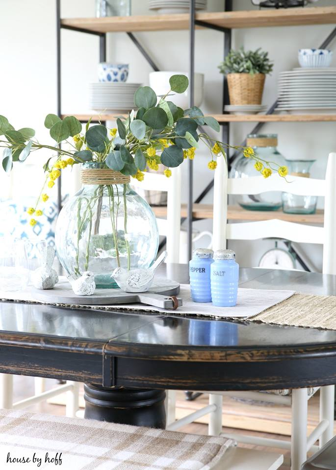 Vintage Pops of Blue in the Dining Room from House by Hoff