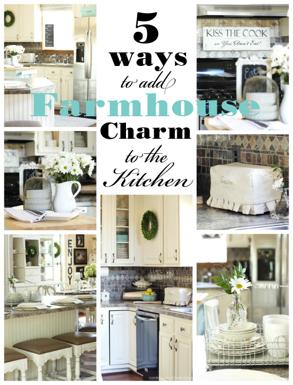 5 ways to add farmhouse charm to the kitchen {and a thrifty makeover