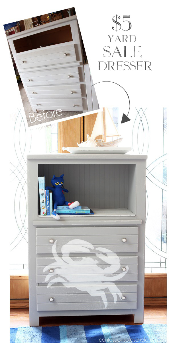 Dresser with crab graphics... perfect for a boys room from Confessions of a Serial Do-it-Yourselfer