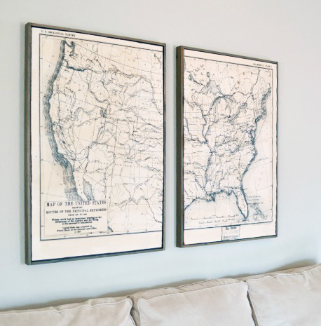 Framed U.S. Explorer Route Map from Little Red Brick House