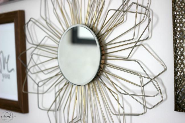 Sunburst Mirror in shaped wire.