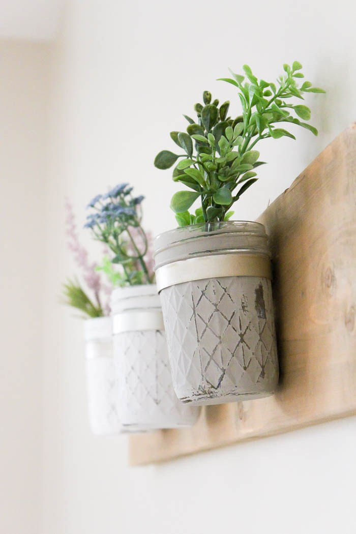 DIY Rustic Farmhouse Mason Jar Planter from Making it in the Mountains