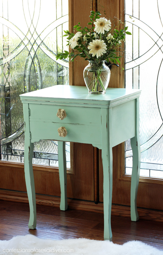 "Sewing Table painted in Americana Decor Chalky FInish Paint in ""Refreshing"" from Confessions of a Serial Do-it-Yourselfer"