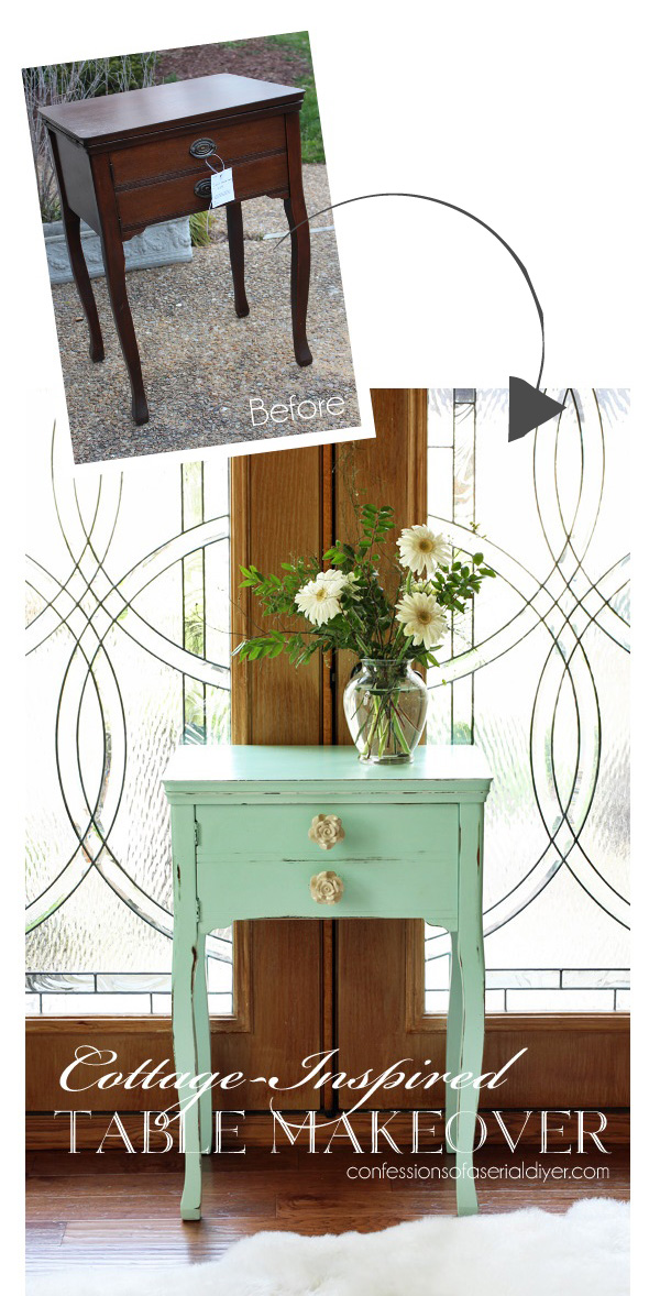 """Sewing Table painted in Americana Decor Chalky FInish Paint in """"Refreshing"""" from Confessions of a Serial Do-it-Yourselfer"""