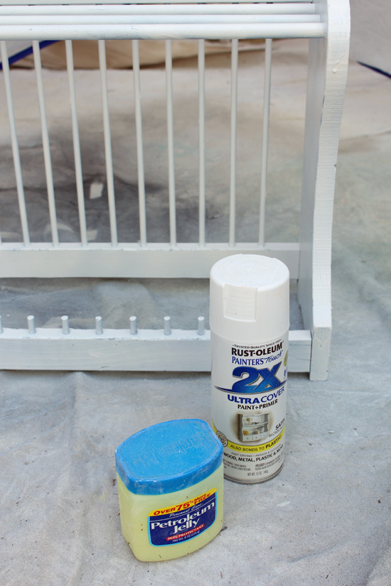 Petroleum jelly is perfect for distressing painted projects.