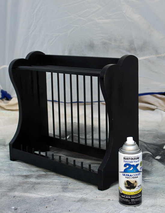 Rustoleum satin black spray paint makes a perfect base coat.