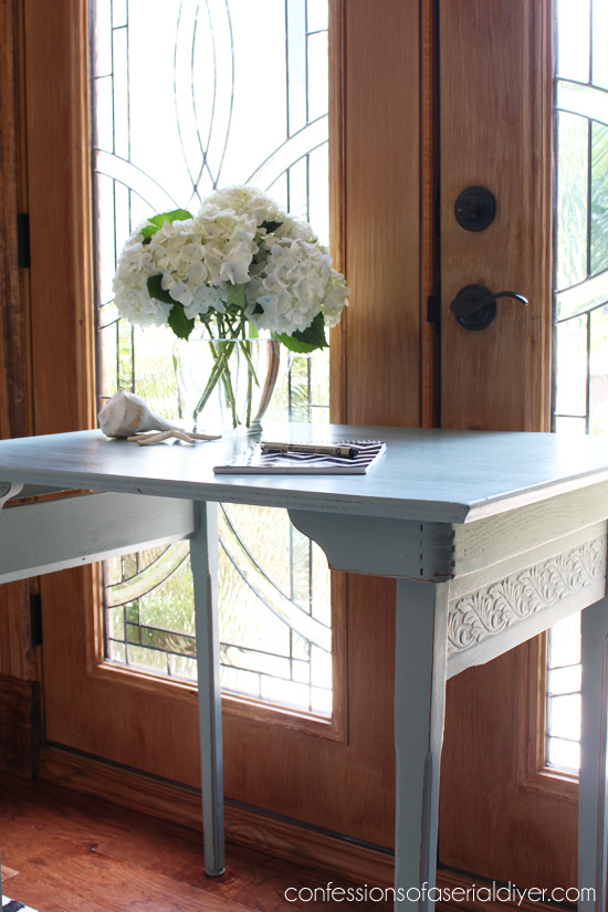 Antique folding sewing table in Behr's Grey Morning from Confessions of a Serial Do-it-Yourselfer