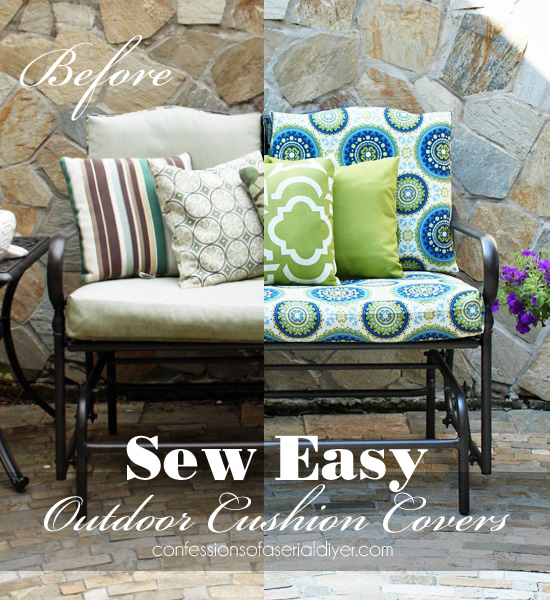 Ideal Outdoor Glider Bench Makeover with new cushion covers from Confessions of a Serial Do it