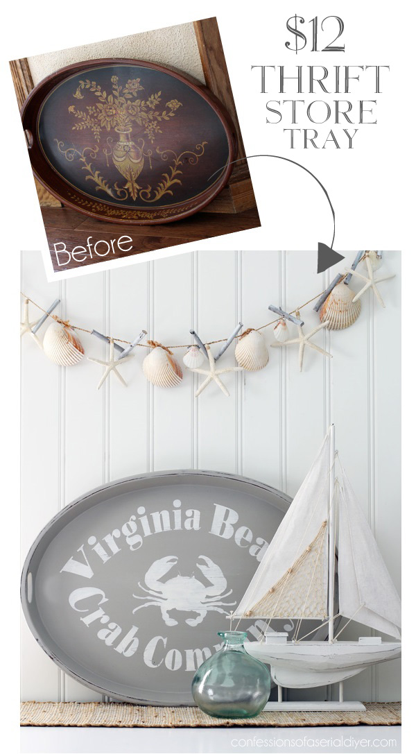 Large oval thrift store tray gets a whole new look using my silhouette. Confessions of a Serial Do-it-Yourselfer