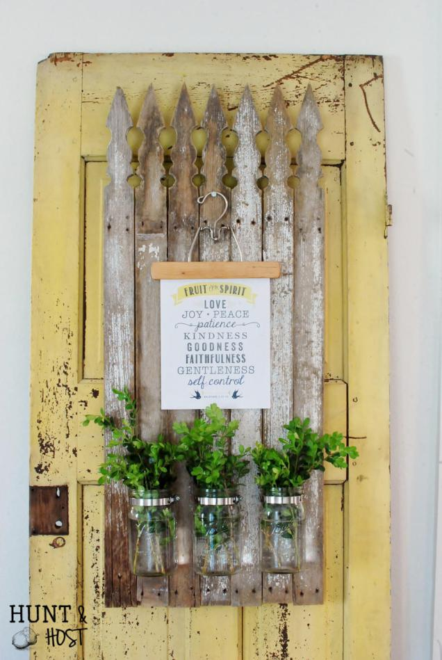 Magnolia Market Inspired Kitchen Message Board  on a rustic old door.