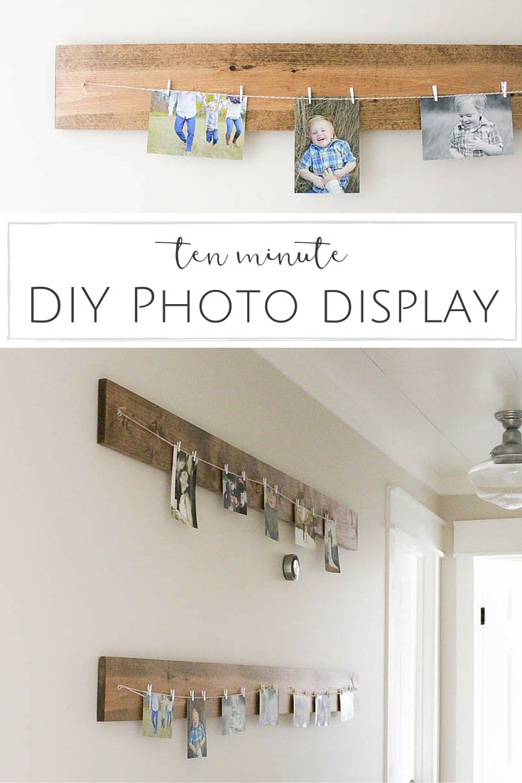 10 Minute DIY Photo Display with string.