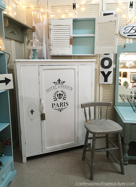 Antique cabinet in my Booth at Confessions of a Serial Do-it-Yourselfer