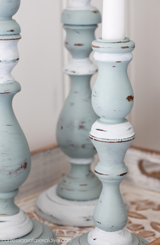Coastal-inspired candlesticks from Confessions of a Serial Do-it-Yourselfer