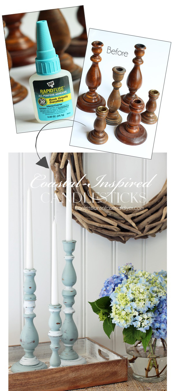 Coastal-inspired candlesticks from Confessions of a Serial Do-it-Yourselfer and DAP® Rapid Fuse All Purpose Adhesive