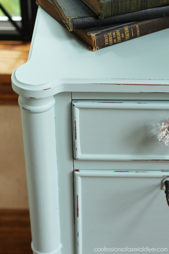 Side Table painted in DY chalk paint in Behr's Gray Morning from Confessions of a Serial Do-it-Yourselfer