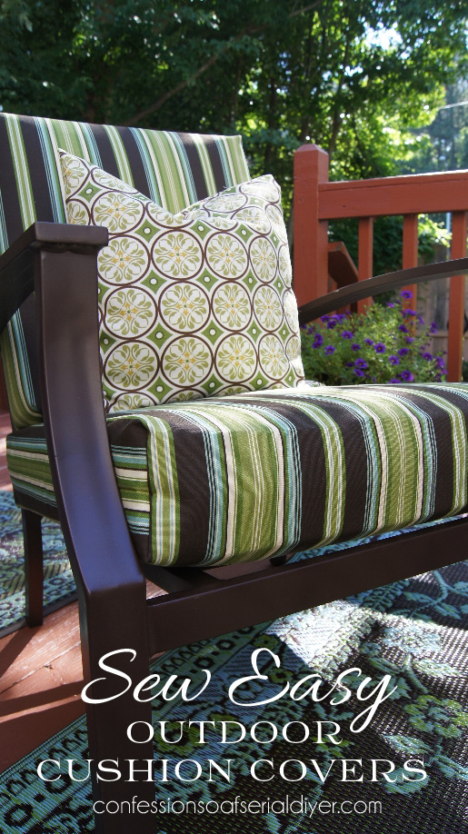 Sew Easy Outdoor Cushion Cover Tutorial from Confessions of a Serial Do-it-Yourselfer