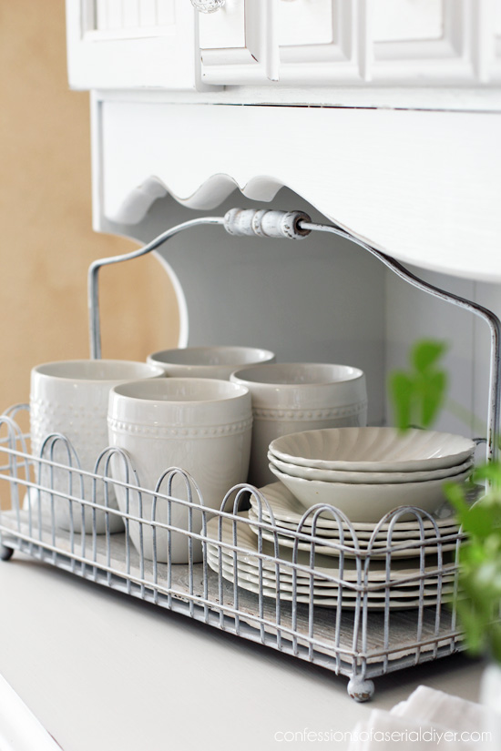 This wire caddy was a thrft store find and perfect for displaying a few favorite dishes.