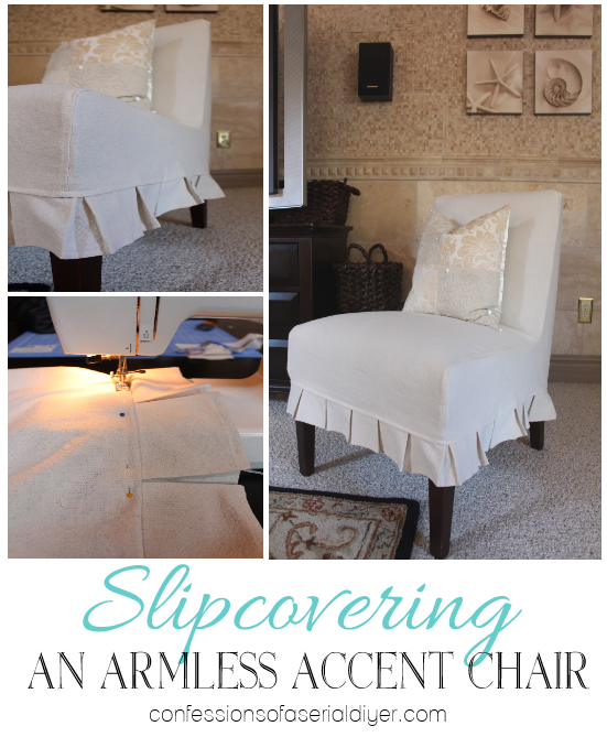 How to slip cover an armless accent chair from Confessions of a Serial Do-it-Yourselfer